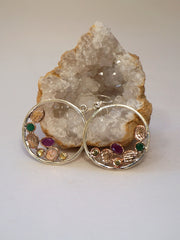 Copper and Emerald Sterling Hoop Earring Set with Rubies