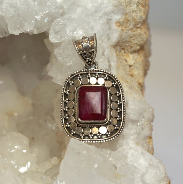 Ruby and Sterling Pendant 5