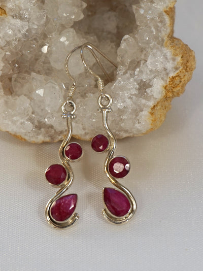 Ruby and Sterling Earring Set 4