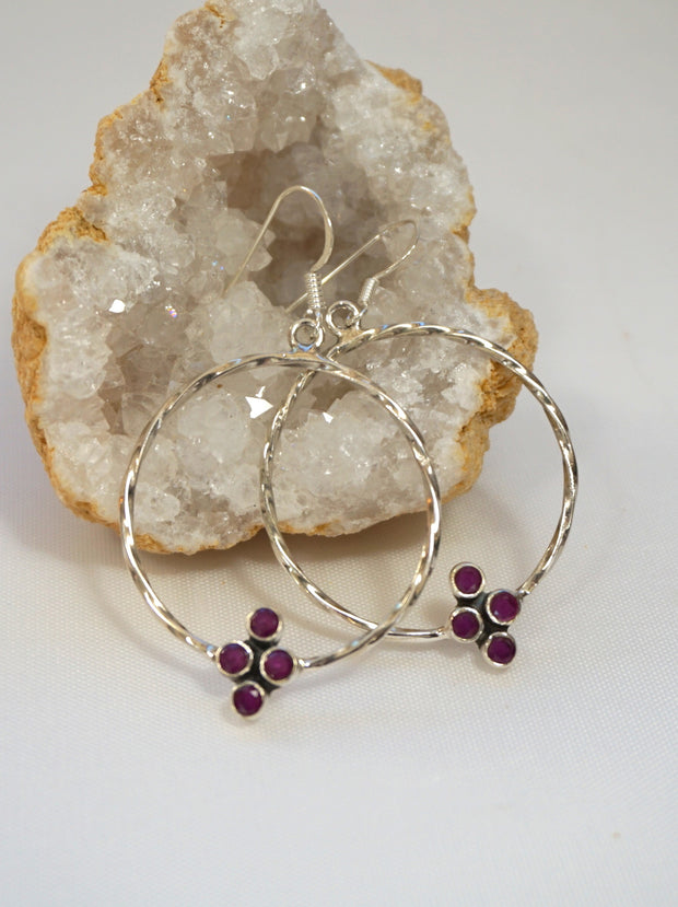 Ruby Cluster Sterling Earring Set 2
