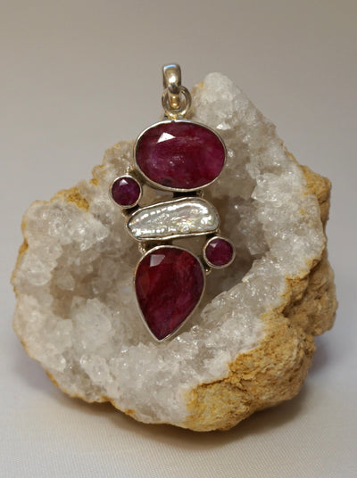 *Ruby and Sterling Pendant 11 with Pearl