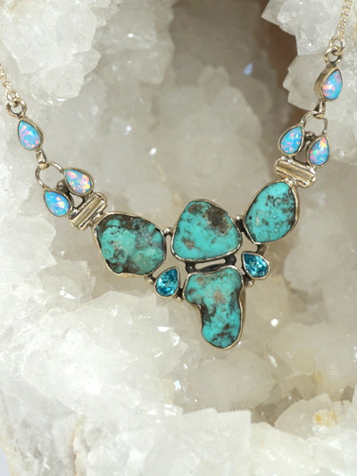 Artisan Turquoise and Fire Opal Necklace with Blue Topaz
