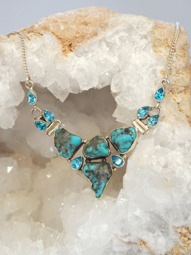 Artisan Turquoise and Faceted Blue Topaz Necklace 2