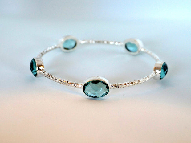 Swiss Blue Topaz Bangle Bracelet 1