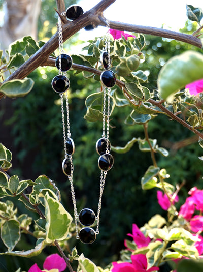 "36"" Long Faceted Black Onyx Necklace 1"