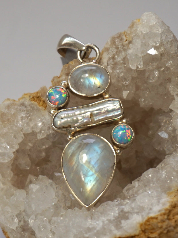 Moonstone and Fire Opal Pendant 1 with Pearl