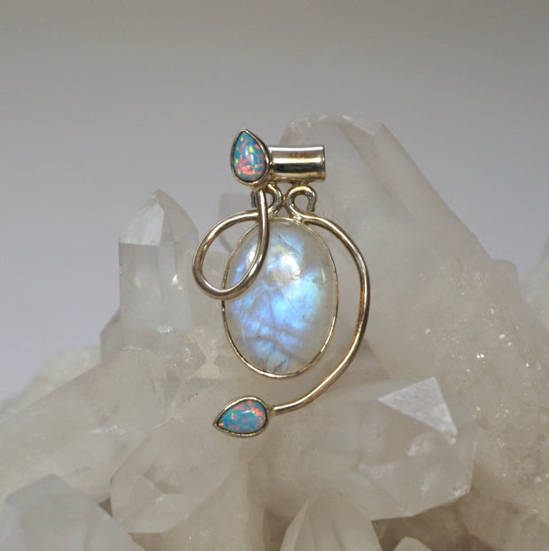 Moonstone and Fire Opal Pendant 2