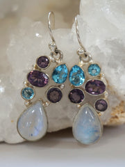 Moonstone, Blue Topaz and Amethyst Quartz Earring Set 5