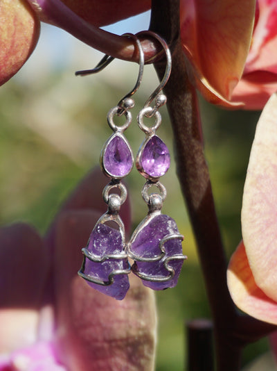 Artisan Free-form Rough Amethyst Earring Set 1