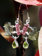 Tourmaline Crystal Earring Set 4 with Pink Tourmaline, Moldavite and Peridot