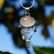 "Rose Quartz and Herkimer ""Diamond"" Quartz Crystal Pendant"