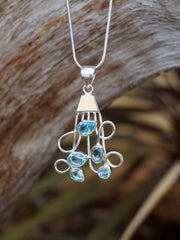 Blue Topaz and Silver Pendant 2