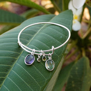 Amethyst Quartz Bangle Bracelet 1 with Peridot