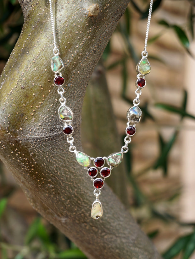 Rough Ethiopian Opal and Garnet Necklace 1