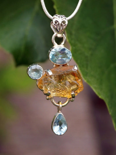 Honey Citrine Rough Pendant 6 with Blue Topaz