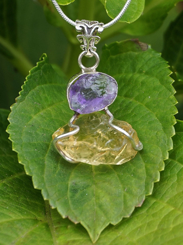 Free-form Organic Citrine Quartz Pendant 8 with Amethyst