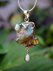 Free-form Ethiopian Opal and Citrine Pendant 1