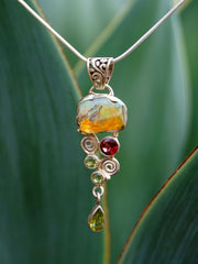Free-form Ethiopian Opal and Garnet Pendant 2 with Peridot