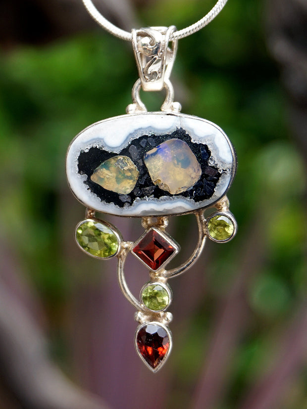 Ethiopian Opal and Garnet Pendant 3 with Peridot
