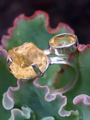 Citrine Ring with Free-form and Faceted Citrines