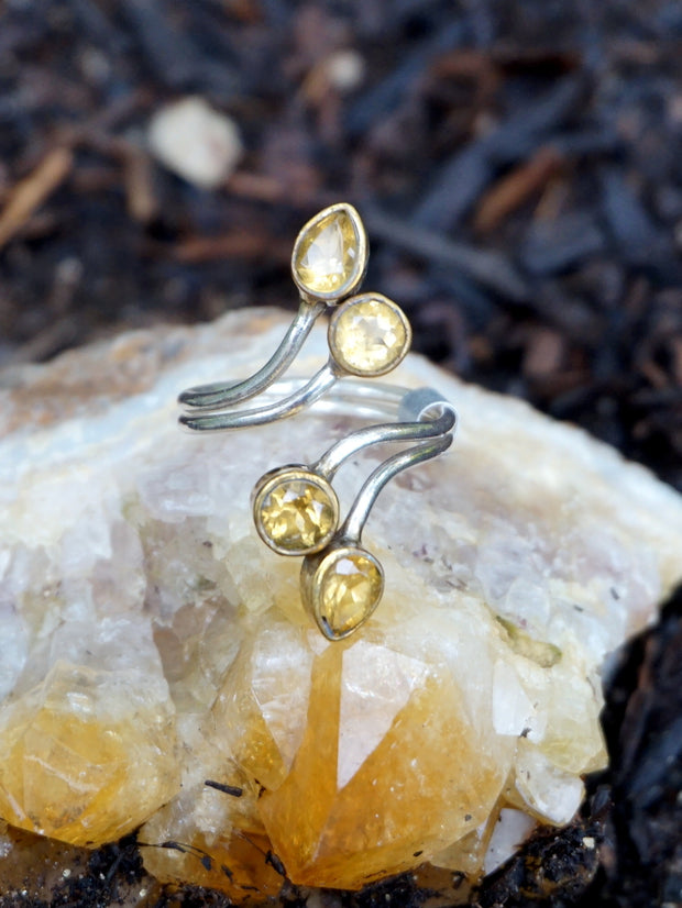 Citrine Ring with 4 Faceted Stones