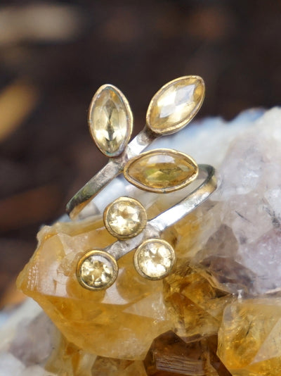 Citrine Ring with 6 Faceted Stones