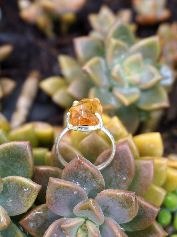 Citrine Rough Quartz Ring 2