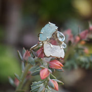 Garden Beauty Ring 4 with Aquamarine, Moonstone & Blue Topaz
