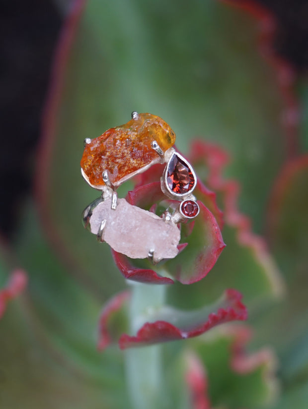 Garden Beauty Ring 3 with Amber and Rose Quartz
