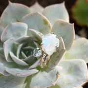 Free-form Organic Moonstone Ring 4 with Blue Topaz