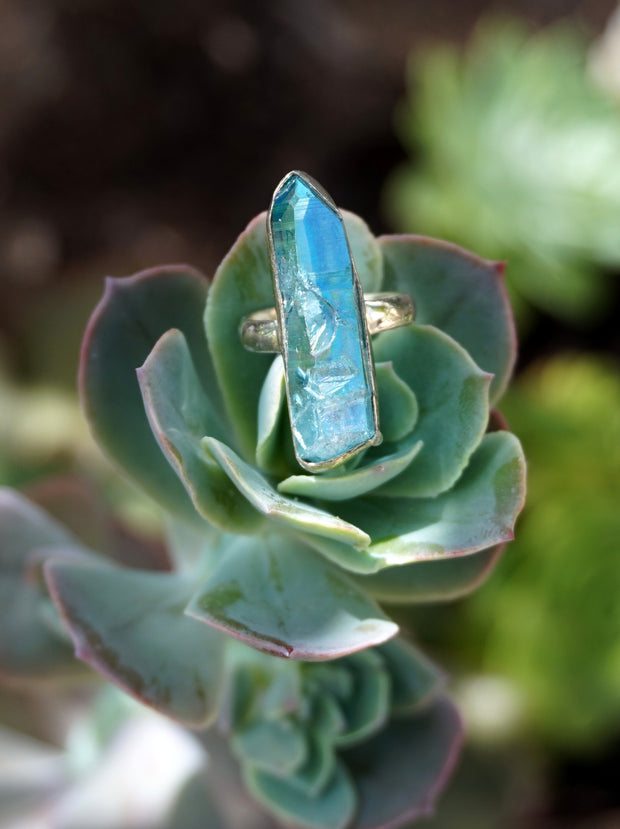 Aqua Aura Quartz Crystal Ring 3