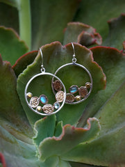 Copper and Labradorite Hoop Earring Set 1