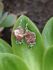 Native Copper Nugget Earring Set 2 with Peridot