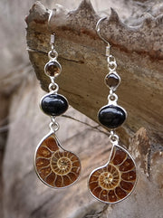 Ammonite Fossil Earring Set 3 with Black Onyx and Smoky Quartz