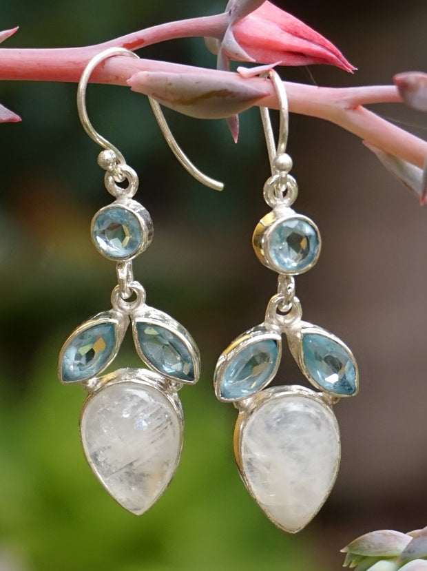 Moonstone Earring Set 6 with Blue Topaz