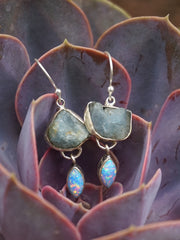 Aquamarine Rough Earring Set 2 with Fire Opal