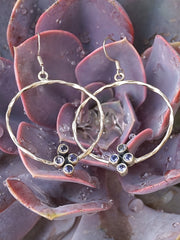 Tanzanite Cluster Sterling Hoop Earring Set