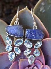 Rough Tanzanite Earring Set 1 with Blue Topaz