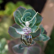 Free-form Rough Labradorite Pendant 7 with Amethyst