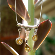 Honey Citrine Quartz and Sterling Wave Pendant