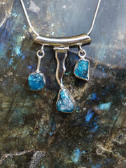 Apatite Gemstones and Sterling Wave Pendant