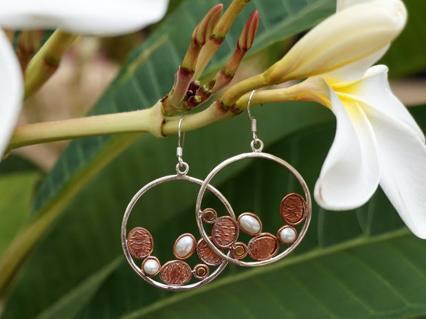 Copper and Pearl Hoop Earring Set 1
