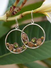 Copper and Peridot Hoop Earring Set 1