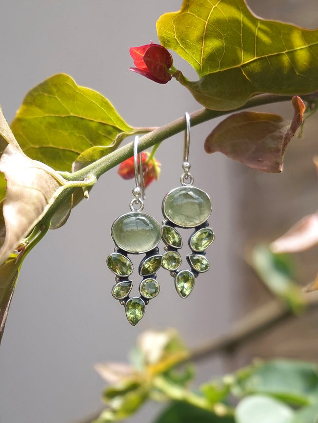 Prehnite Earring Set 1 with Peridot