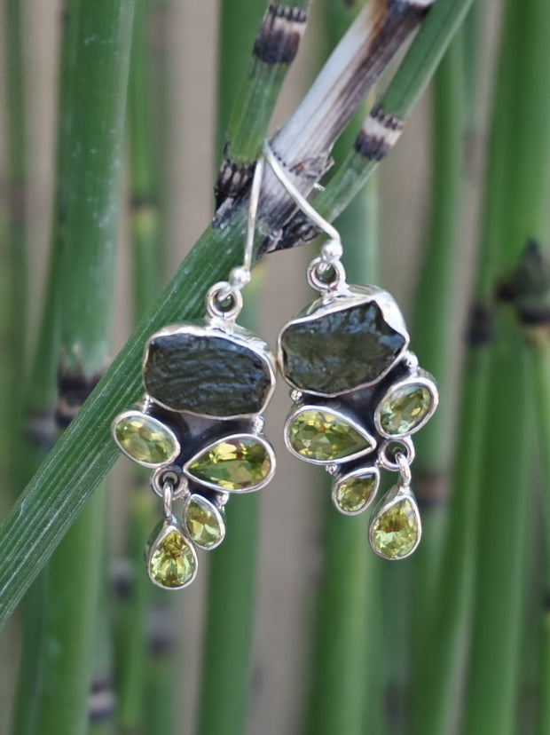 Moldavite Earring Set 2 with Peridot