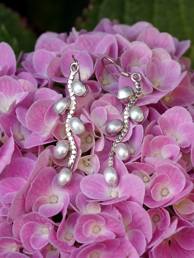 Pearl and Sterling Drop Earring Set 1