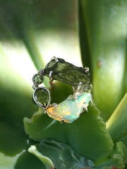 Garden Beauty Ring 6 with Ethiopian Opal, Moldavite & Peridot