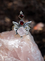 Rose Quartz and Garnet Ring 1