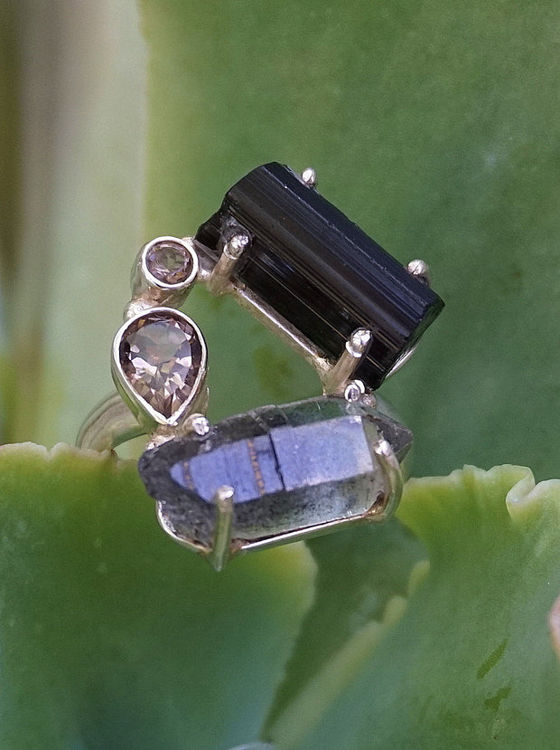 Garden Beauty Ring 9 with Tourmaline and Herkimer Diamond