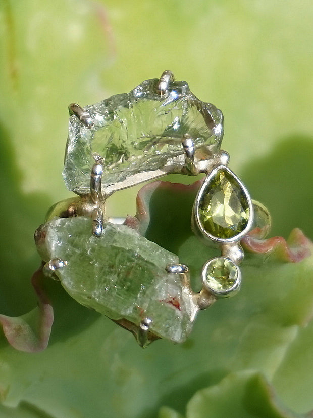 Garden Beauty Ring 7 with Green Amethyst, Kyanite & Peridot